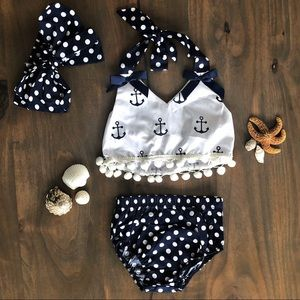 Other - Anchor & Polka Dot 3pc Outfit